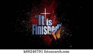 It is Finished Easter graphic with butterfly, Christian cross and spatter background