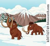 karikatur, wolliges mammut, gehende, durch, a, verschneit, feld