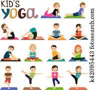 Kids yoga icons set