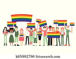 Lgbt and gay parade, protest. People holding rainbow flags, transporants, posters.