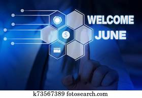 Word writing text Welcome June. Business concept for Calendar Sixth Month Second Quarter Thirty days Greetings Woman wear formal work suit presenting presentation using smart device.