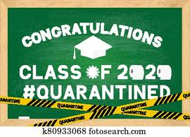 Class of 2020 funny poster with toilet paper and graduation cap on green chalkboard with wooden frame. Coronavirus COVID-19 quarantine. Vector template for graduation greeting card, banner, sticker.