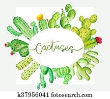 Set of watercolor cactus