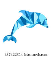 blue dolphin silhouette. animal with abstract