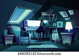 girl s room at night. Cartoon garret bedroom