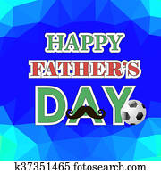 Happy Fathers Day Poster on Polygonal Background