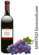 Red Wine Bottle & Grapes