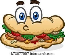 Submarine Sandwich Cartoon Character Illustration