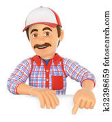 3D Handyman pointing down. Blank space