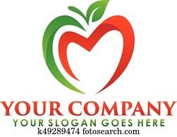 apple logo nutrition fruit nature icon symbol.