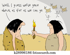Humorous Cartoon of the Discovery of Fire