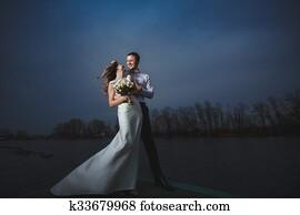 pier bride groom night