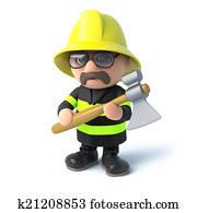 3d Fireman with his axe