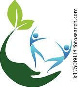 glücklich, gesund, leute, logo