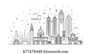 Manila Philippines vector City Skyline.