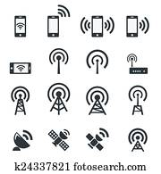 Mobile devices and wireless icon set
