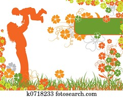 Mother, floral background, vector