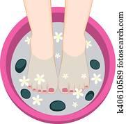 Pedicure Female Feet Spa Bowl