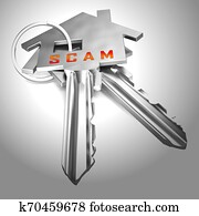 Property Scam Hoax Key Depicting Mortgage Or Real Estate Fraud - 3d Illustration