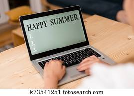 Word writing text Happy Summer. Business concept for Beaches Sunshine Relaxation Warm Sunny Season Solstice woman laptop computer smartphone mug office supplies technological devices.