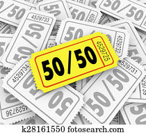 50-Fifty Raffle Tickets Pile Fundraiser Charity Contest Winner