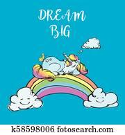 Cute unicorn sleep on rainbow,