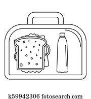 Lunch sandwich box icon, outline style