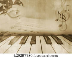 Music background - vintage piano