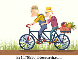 Old man and old woman drive by bike. Vector couple gardeners