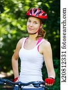Young Woman Fell Off Mountain Bike Stock Image K20812320