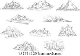 berg, landschaftsbilder, skizzen, für, natur, design