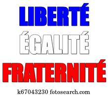 Liberty, equality, fraternity sign and the national motto of France