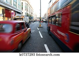 Traffic on Oxford Street in London