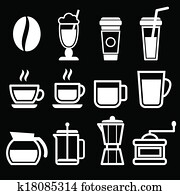 White Coffee Drinks Icons