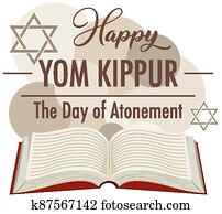 Yom Kippur logo greeting card template or background with bible