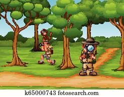 Quadro su tela esploratore ragazzo con lente di ingrandimento
