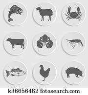 heiligenbilder, satz, -animal,, meat,, meeresfrüchte