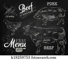 Meat menu chalk