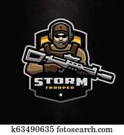 Storm trooper mascot, logo desing on a dark background.