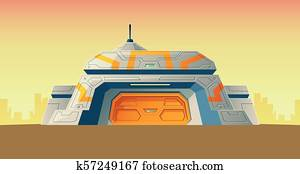 Vector cartoon bunker, scientific laboratory for creation
