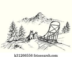winterbilder, berg, landscape,, heiser, hunde, schlitteln