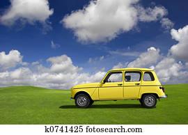 Yellow funny car