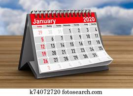 2020 year. Calendar for January. 3D illustration