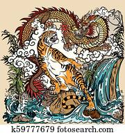 chinese dragon versus tiger illiustration