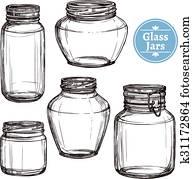 Glass Jars Set