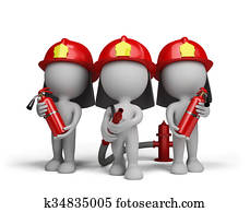Three firefighter with the fire ext