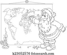 weihnachtsmann, mit, a, weltkarte