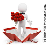 3D white people. Valentines. Man with a bouquet of roses