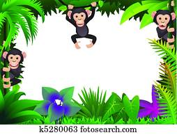 Cute chimp in the jungle