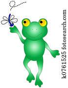 Frog catching bug.
